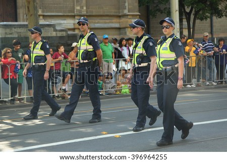 MELBOURNE, AUSTRALIA - JANUARY 25, 2016: Victoria Police Constable providing security during Australia Day Parade in Melbourne  - stock photo