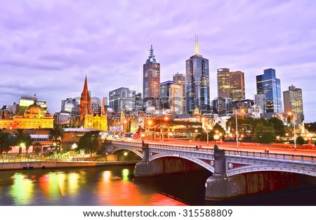 Melbourne, Australia - January 18, 2015: View of Melbourne skyline and Yarra River at dusk in Melbourne on January 18, 2015. - stock photo
