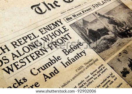 MELBOURNE, AUSTRALIA - January 14, 2012:  Vintage newspaper dated December 8, 1939, featuring news from the Western Front in the early months of World War II. - stock photo