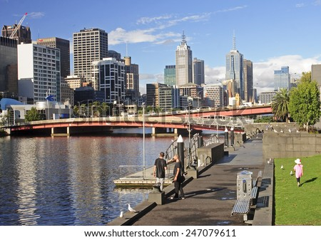 MELBOURNE, AUSTRALIA - JANUARY 13, 2015: Yara River runs through the center of the city on 13 January 2015 in Melbourne, Australia. Yara River is a favorite place for walking