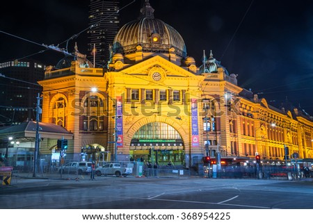 Melbourne, AUSTRALIA - June 07 2015: Flinders street station the iconic of Melbourne, Australia in the night time. - stock photo