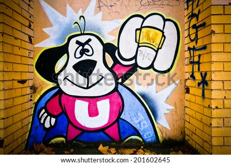 MELBOURNE, AUSTRALIA - JUNE 28 2014: Street art by unidentified artist. Melbourne's graffiti management plan recognises the importance of street art in a vibrant urban culture - stock photo