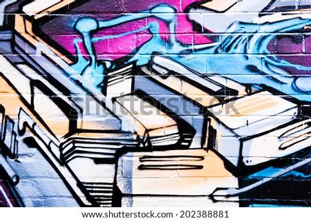 MELBOURNE, AUSTRALIA - JUNE 28 2014: Street art by unidentified artist. Melbourne's graffiti management plan recognizes the importance of street art in a vibrant urban culture - stock photo