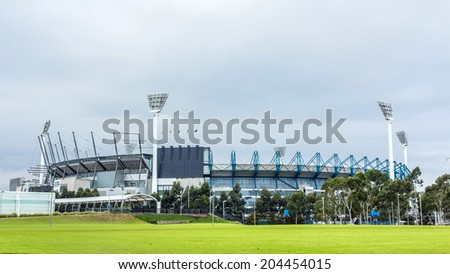 MELBOURNE, AUSTRALIA - JUNE 5, 2014: The Melbourne Cricket Ground in Victoria, Australia. The MCG is the largest sports stadium in Australia. - stock photo