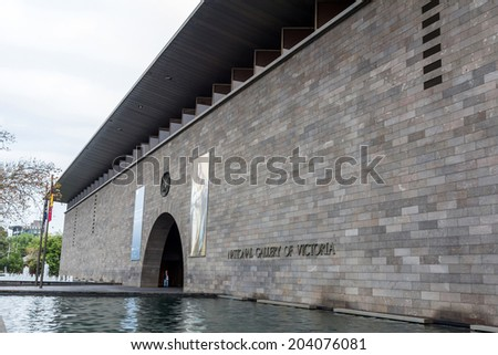 MELBOURNE, AUSTRALIA - JUNE 5, 2014: The National Gallery of Victoria, popularly known as the NGV, is an art museum in Melbourne, Australia. It is the oldest public art museum in Australia.  - stock photo