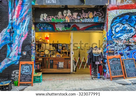 MELBOURNE, AUSTRALIA - MAR 19: Coffee shop at Hosier Lane on Mar 19, 2015 in Melbourne. It's one of the tourist attraction which is the ever-changing graffiti on the walls of Hosier Lane. - stock photo