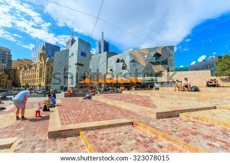 MELBOURNE, AUSTRALIA - MAR 19: Federation Square on Mar 19, 2015 in Melbourne. It is a mixed-use development in the inner city of Melbourne, covering an area of 3.2 hectares. - stock photo