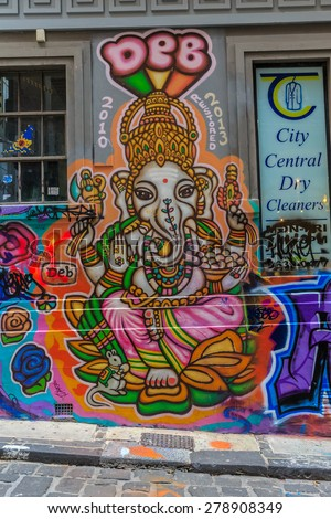 MELBOURNE, AUSTRALIA - MAR 19: Ganesha Graffiti at Hosier Lane on Mar 19, 2015 in Melbourne. It's one of the tourist attraction which is the ever-changing graffiti on the walls of Hosier Lane. - stock photo