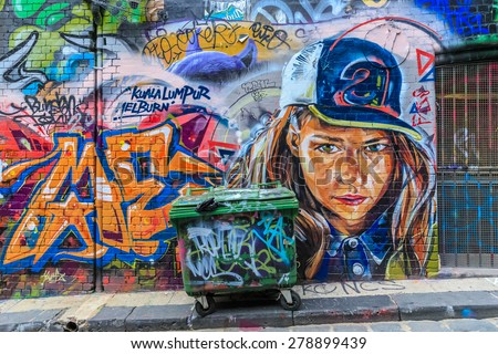 MELBOURNE, AUSTRALIA - MAR 19: Girl Graffiti at Hosier Lane on Mar 19, 2015 in Melbourne. It's one of the tourist attraction which is the ever-changing graffiti on the walls of Hosier Lane. - stock photo