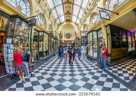 MELBOURNE, AUSTRALIA - MAR 20: Interior of Royal Arcade on Mar 20, 2015 in Melbourne. It's  a heritage shopping arcade in the CBD of Melbourne, Victoria, originally constructed in 1869. - stock photo