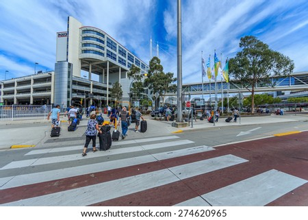 MELBOURNE, AUSTRALIA - MAR 14: Melbourne International Airport on Mar 14, 2015 in Melbourne. It is the primary airport serving the city of Melbourne, and the second busiest airport in Australia. - stock photo