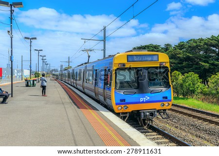 MELBOURNE, AUSTRALIA - MAR 15: Metro Trains Melbourne at Aircraft station on Mar 15, 2015 in Melbourne. It is the franchise operator of the suburban railway network of Melbourne, Australia. - stock photo