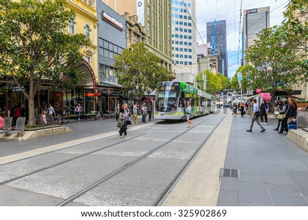 MELBOURNE, AUSTRALIA - MAR 19: Trams services on Mar 19, 2015 in Melbourne. The network consisted of 250 Kms of track, 493 trams and 25 routes which is the largest urban tramway network in the world.
