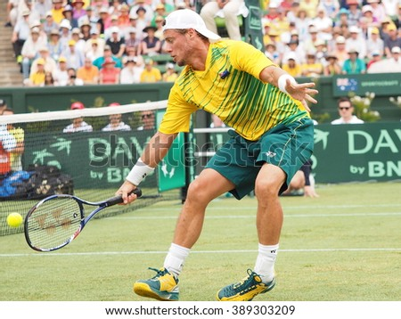 Melbourne, Australia - March 5, 2016: Australian Tennis player Lleyton Hewitt during Davis Cup doubles the Brian Brothers from USA at Kooyong Lawn Tennis Club - stock photo