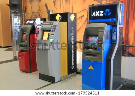 MELBOURNE AUSTRALIA - March 1,2014: Cash machines of three of the Australia's biggest four banks - More than 30,000 ATMs available across Australia.