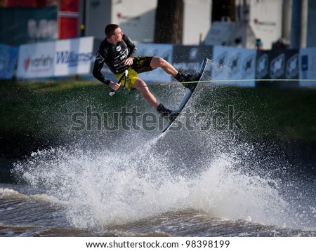 MELBOURNE, AUSTRALIA - MARCH 12: Marcello Giardiin the wakeboard event at the Moomba Masters on March 12, 2012 in Melbourne, Australia - stock photo