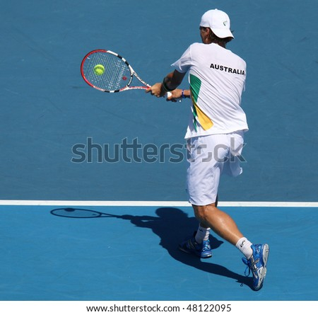 MELBOURNE, AUSTRALIA - MARCH 7: Peter Luczak of Australia in his win over Tsung-Hua Yang of Chinese Taipei  in their Davis Cup tie on March 7, 2010 in Melbourne, Australia - stock photo