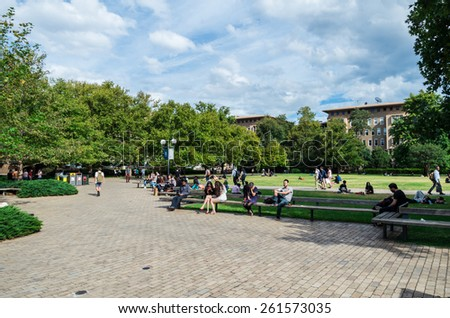 MELBOURNE, AUSTRALIA - March 9, 2015: South Lawn of the University of Melbourne, a popular spot for students to congregate. - stock photo