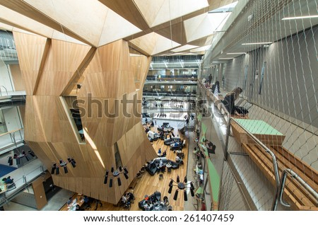 MELBOURNE, AUSTRALIA - March 9, 2015: the Melbourne School of Design at the University of Melbourne was launched on 11 December 2014 and opened for teaching on March 2, 2015. It is a 6 star building. - stock photo