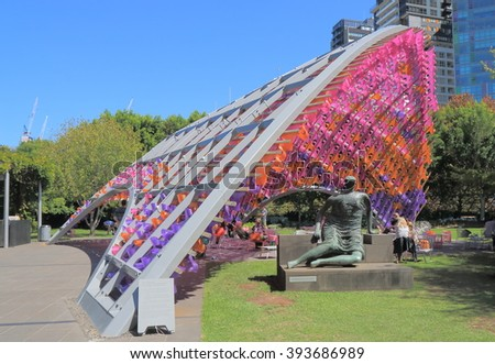 MELBOURNE AUSTRALIA - MARCH 20, 2016: Unidentified people visit National Gallery of Victoria. National Gallery of Victoria know as NGV is the oldest art museum in Australia founded in 1861.   - stock photo