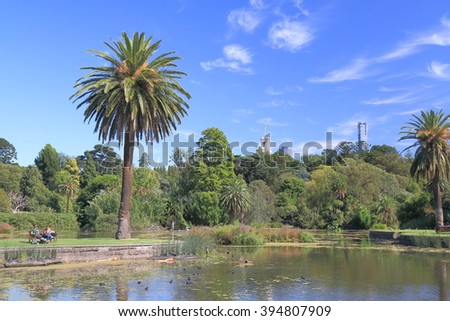 MELBOURNE AUSTRALIA - MARCH 20, 2016: Unidentified people visit Royal Botanic Gardens.   - stock photo