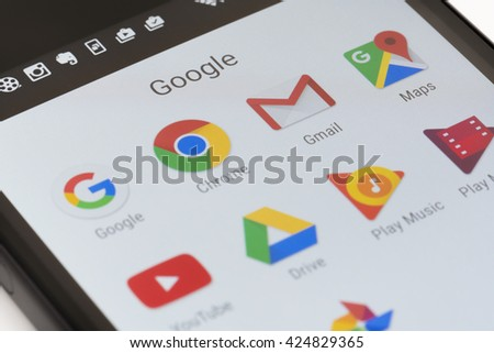 Melbourne, Australia - May 23, 2016: Close-up view of Google apps on an Android smartphone, including Chrome, Gmail, Maps. - stock photo