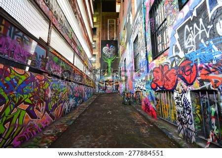 Melbourne, Australia - May 5, 2015:Graffiti artwork in Hosier Lane. Hosier lane is a much celebrated landmark in Melbourne mainly due to its sophisticated graffiti urban art. - stock photo