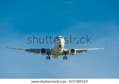 Melbourne, Australia - May 6, 2016: Jet passenger airplane approaching Melbourne Airport for landing