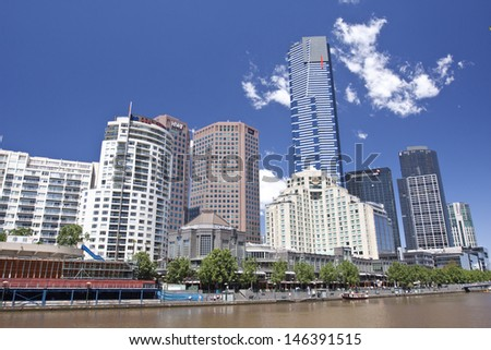 MELBOURNE, AUSTRALIA - NOV 2: The business center by Yarra River in South Warf  on November 2, 2011, Melbourne, Australia. It is one of the most important business center in south hemisphere.