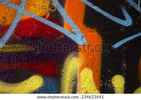 MELBOURNE, AUSTRALIA, 21 NOVEMBER 2014. Abstract graffiti on wall by unidentified artist. Importance of youth projects street art recognized. - stock photo