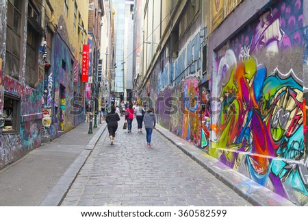 MELBOURNE, AUSTRALIA - 1 November 2015: Graffiti in Melbourne. It's one of the tourist attraction which is the ever-changing graffiti on the walls, the artwork of various artists. - stock photo
