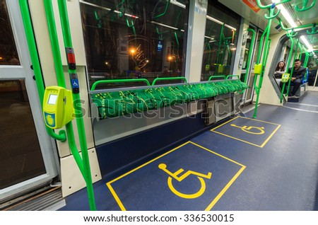 Melbourne, Australia - November 3, 2015: Interior of a C-class Citadis articulated tram, operated by Yarra Trams. The Citadis trams were manufactured by Alstom in France. - stock photo