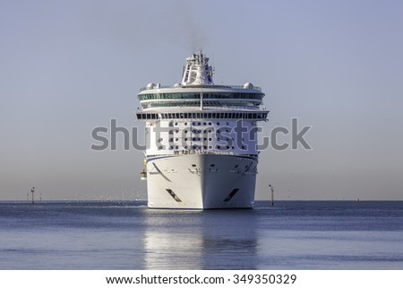 Melbourne, Australia - November 30, 2015: Royal Caribbean International cruise ship MS Voyager of the seas in Port Phillip Bay prior to docking at Station Pier.