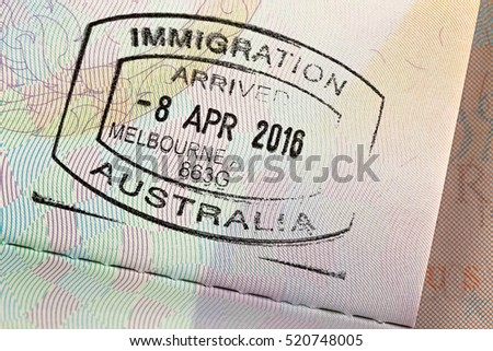 MELBOURNE, AUSTRALIA - OCTOBER, 2016 : Closeup of Arrival entry stamp on passport for immigration traveling at Melbourne airport, Australia on October 23, 2016