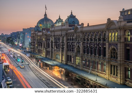 Melbourne, AUSTRALIA - OCTOBER 22 2015: Flinders street station the iconic of Melbourne in the morning time, Australia. - stock photo