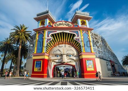 Melbourne, AUSTRALIA - OCTOBER 03 2015: Luna park the iconic amusement park of Melbourne, Australia. - stock photo