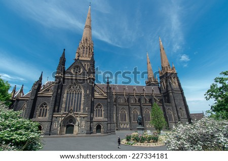 MELBOURNE, AUSTRALIA - October 26, 2014: St Patrick's Cathedral is a Roman Catholic cathedral in the Gothic Revival style. It was consecrated in 1897 and completed in 1939.