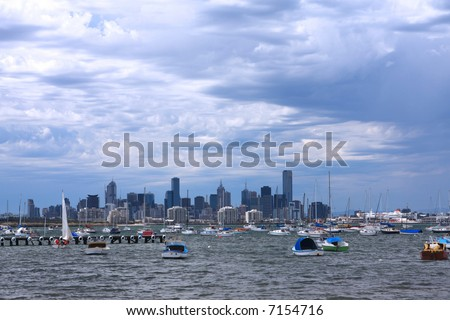 Melbourne, Australia, on a windy day.  Viewed from Williamstown over Port Phillip Bay. - stock photo