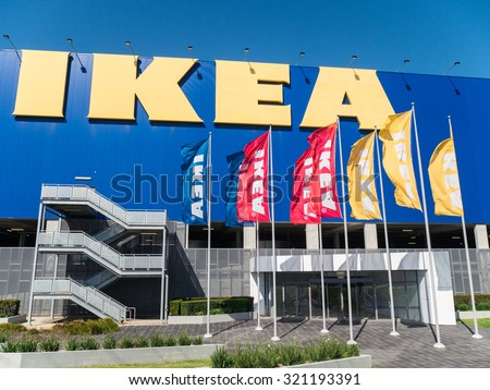 Melbourne, Australia - September 20, 2015: Ikea is a Swedish multinational furniture company, known for its flat-packed furniture. This is the Springvale store in Melbourne.