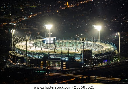 MELBOURNE, AUSTRALIA - September 6, 2014: the Melbourne Cricket Ground is a cricket and football stadium with a capacity of over 100,000. It hosted the 1956 Olympic Games. - stock photo