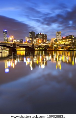Melbourne, Australia, viewed over the Yarra River at dusk. - stock photo