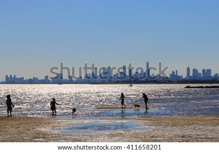 Melbourne beach cityscape Australia  - stock photo