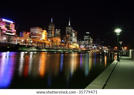 Melbourne by night. Along the Yarra river. - stock photo