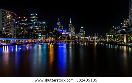 Melbourne Central Business district nightlife, Melbourne, Australia - stock photo