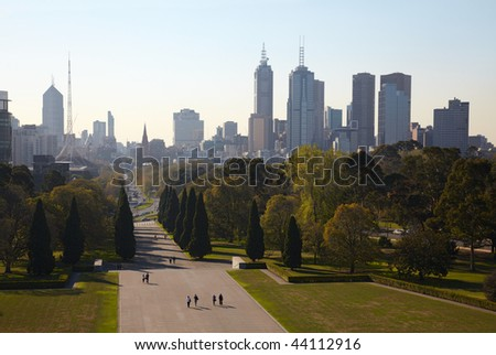 Melbourne central part at autumn - stock photo