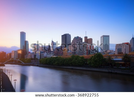 Melbourne city and the Yarra river at twilight.