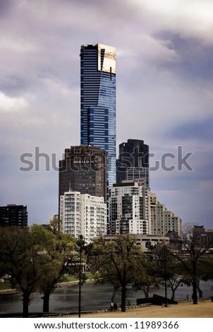 Melbourne city buildings - stock photo