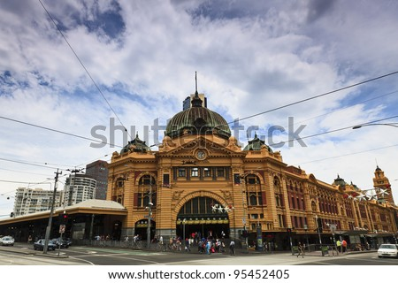 Melbourne city historic building Flinders station railway victoria colonial style yellow bricks - stock photo