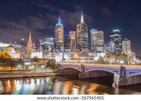 Melbourne city in the night time, Australia.