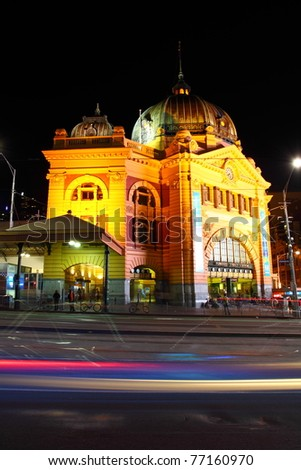 Melbourne City Lights at night, Australia - stock photo